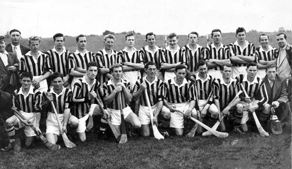 "Back row: Mick Larkin, Bob Aylward, Phil Murphy, Jimmy Coyne, Rody O'Neill, Peter Fennelly, Donal Gorey, Paddy Lacey, Jack Murphy, Florrie McCarthy, Billy Costigan, Jim ""Link"" Walsh, Tom Ryan, PJ O'NeilL <br />
