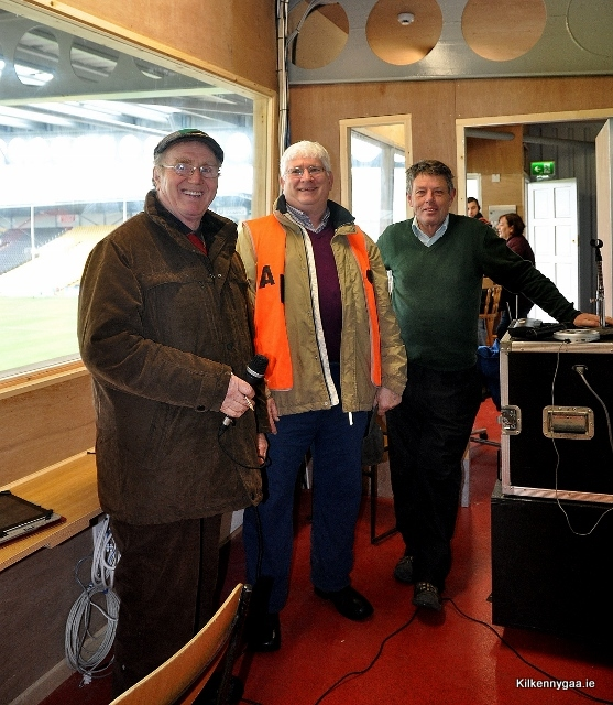 Stadium announcer Sean Doherty, Steward Luke Roche and Event Controller Seamus Reade pictured in new PA/Scoreboard Room in Ardan Breathnach.
