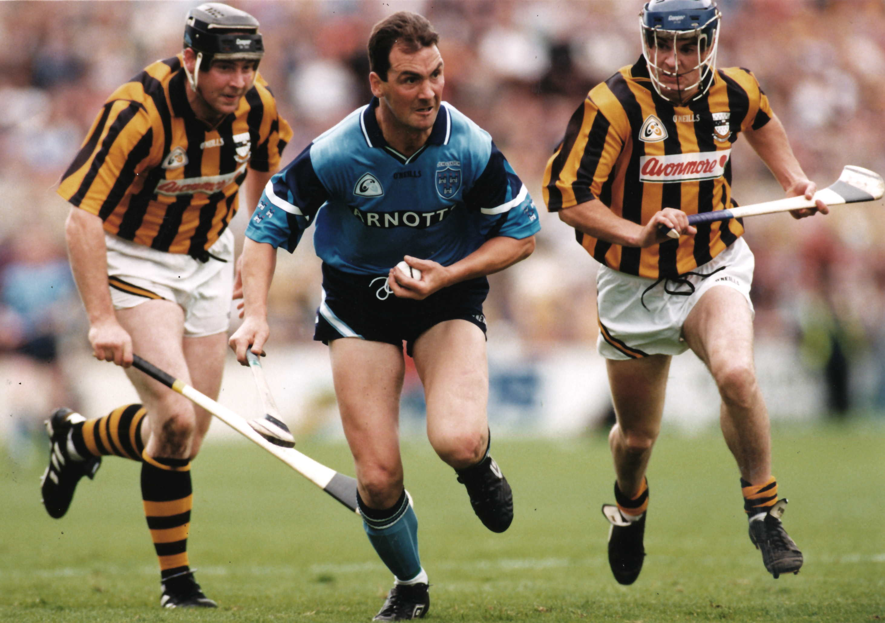 About to be Nailed!<br /> Pat and Dan O'Neill close in on Dublin's Mick Morrissey in the 1997 Leinster Championship.<br /> Photo SPORTSFILE