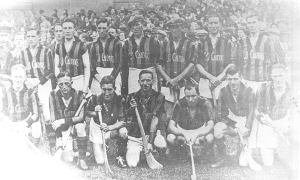 Back Row: Paddy Larkin, Martin White, Tommy Leahy, Jimmy Walsh, Podge Byrne, Lory Meagher (Capt),Peter O&#039;Reilly, Jimmy O&#039;Connell. <br />