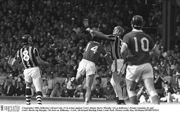 2 September 1983; Kilkenny's Brian Cody (3) in action against Cork's Jimmy Barry Murphy (14) as Kilkenny's Frank Cummins (8) and Cork's Bertie Og Murphy (10) look on. Kilkenny v Cork, All-Ireland Hurling Final, Croke Park. Picture credit; Ray McManus/SPORTSFILE