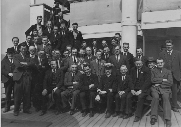 The victorious Kilkenny SH team aboard SS Berlin at Cobh, prior to departure on their US trip.