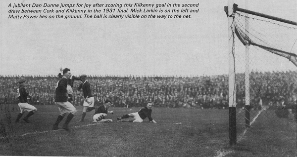 Kilkenny score a goal in the second of the 1931 Finals.