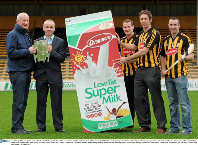 Brian Cody, Kilkenny Team manager, Brian Phelan, Glanbia, Jackie Tyrell, Michael Fennely and Eoin Larkin 2012 Team Captain in Nowlan Park at the launch