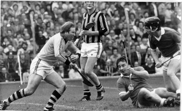 Noel Skehan makes one of his many clearances in the 1982 All Ireland Final v Cork. Also in picture - Brian Cody, Seanie O'Leary and Tony O'Sullivan.