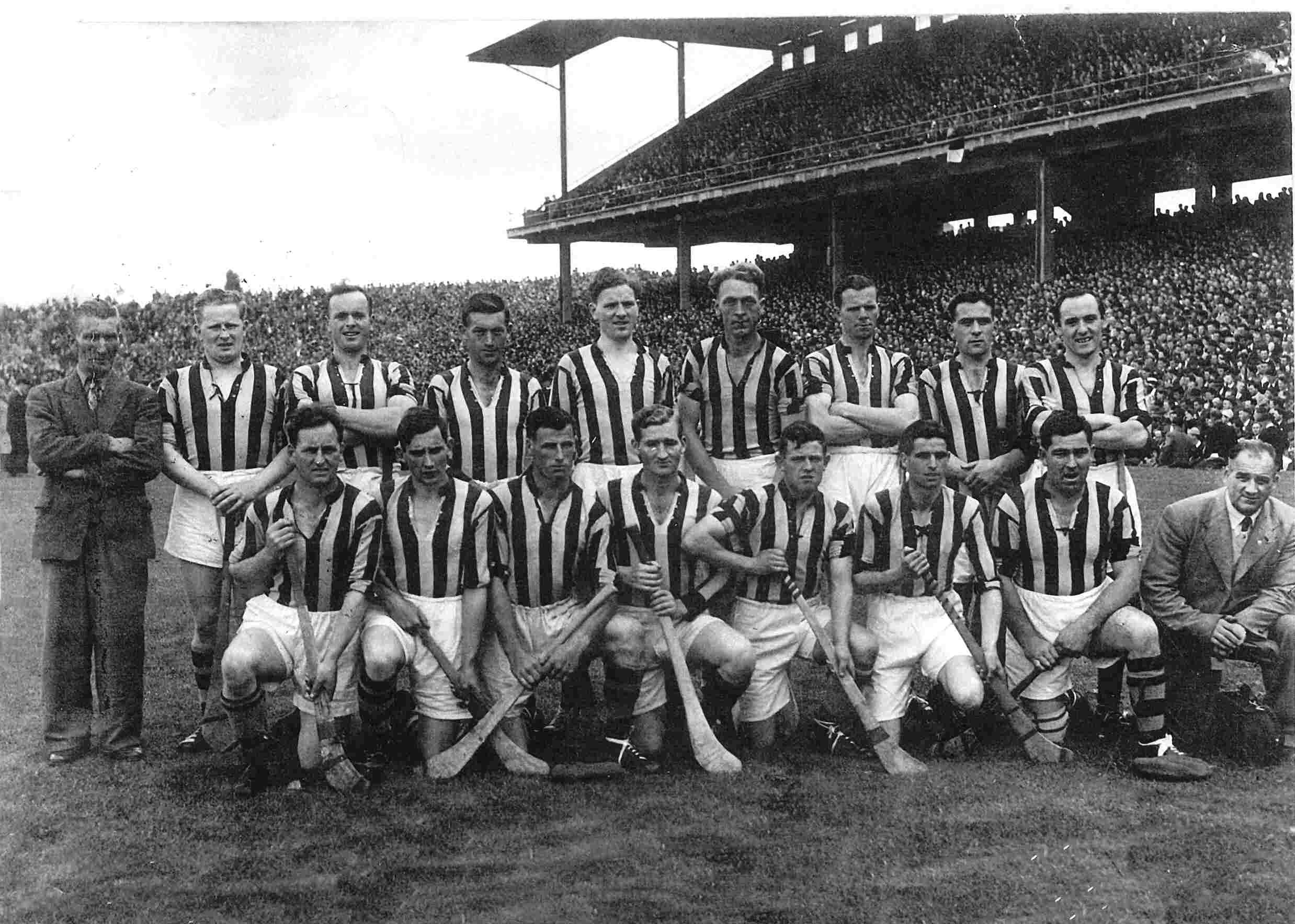 Team beaten by Galway (3-5 to 1-10) in 1953 All Ireland Semi-Final.<br /> Back: Ramie Dowling, Jimmy Heffernan, Mickey Kelly, Sean Clohessy, John Sutton, Dan Kennedy, Shem Downey, Jim Langton.<br /> Front: Bill Walsh, Dick Carroll, Jim Hogan, Mark Marnell, Johnny McGovern (Capt), Paddy Buggy, Diamond Hayden, Syd Bluett.