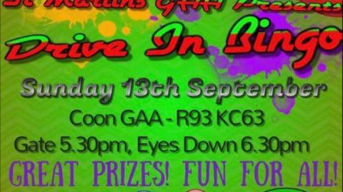 St Martins GAA – Drive in Bingo