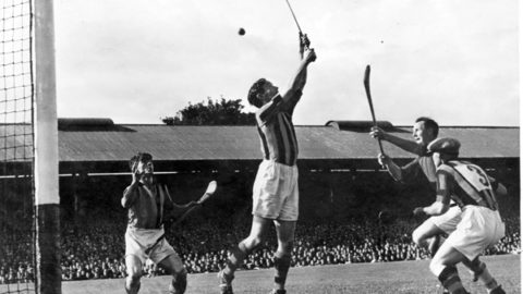 Jim Donegan, Kilkenny Goalie attempts a save in the 1947 All Ireland SH Final.