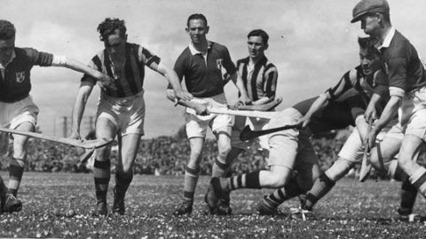Leinster Championship 1947 in Portlaoise. From left: Andy Dwyer (D), Paddy O'Brien, S Óg Ó Ceallacháin (D), Padraig Lennon, Dave Walsh (D), Shem Downey, Ned Dunphy (D).