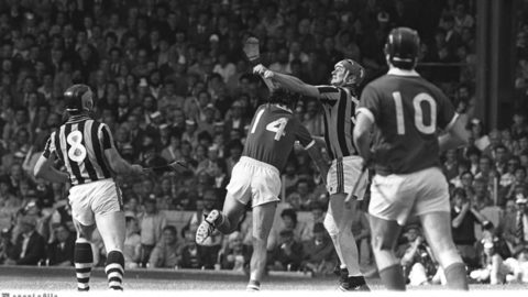2 September 1983; Kilkenny's Brian Cody (3) in action against Cork's Jimmy Barry Murphy (14) as Kilkenny's Frank Cummins (8) and Cork's Bertie Og Murphy (10) look on. Kilkenny v Cork, All-Ireland Hurling Final, Croke Park. Picture credit; Ray McManus/SPORTSFILE