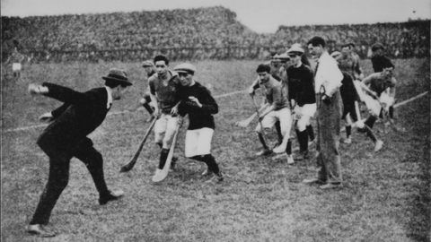 Michael Collins, himself a fine hurler, throws in the ball at the start of the 1921 Leinster Hurling Final. From left: Michael Collins, Joe Coyne (originally Dicksboro - lived/hurled Dublin), Paddy Donoghue, Mattie Power, Ref John Dunphy.