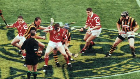 Referee Pat O'Connor (Limerick) throws in the ball at the start of the 1999 All Ireland Final. Photo Sportsfile