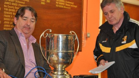 Pat Treacy of KCLR recording the JJ Kavanagh and Sons Football Championship Draws for 2012