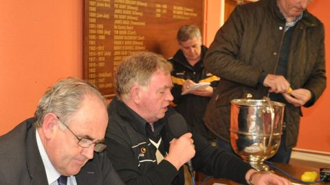 County secretary Ned Quinn records, as County Chairman Paul Kinsella calls out the teams in the Michael Lyng Intermediate Hurling championship draw.