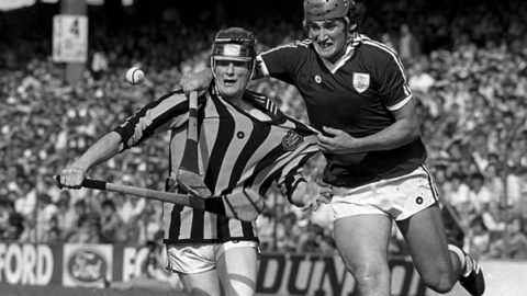 8 August 1982. Richie Power, Kilkenny, in action against Conor Hayes, Galway. Kilkenny v Galway, All-Ireland Hurling semi-final, Croke Park, Dublin. Picture credit; Ray McManus/SPORTSFILE