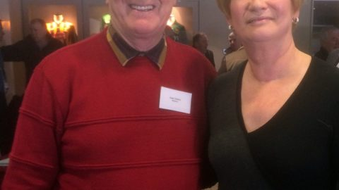 Nowlan Park Stadium announcer Sean Doherty pictured with RTE Newscaster Eileen Dunne at seminar in Croke Park on Saturday