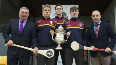 L to R: Seamus Grace, Area Manager, Top Oil. Niall Brassil (Captain), Matthew Ruth (Manager), Sean Bulger (Vice Captain), CBS Kilkenny and Charlie Carter, Top Oil.